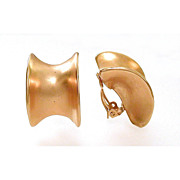 Robert Lee Morris Brushed Gold Tone Earrings Designer Signed Clip-On