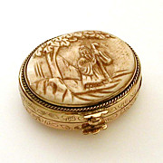 Chinese Pill Trinket Box Carved Lid Scene of Man in Traditional Costume Holding Staff Under a Tree