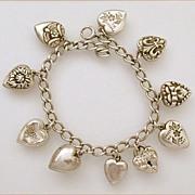 Vintage Sterling Puffy Heart Charm Bracelet Mizpah & Lampl Lock 10 Hearts