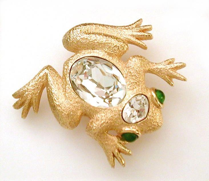 Christian Dior Frog Pin with Huge Glass Rhinestone & Emerald Glass Eyes