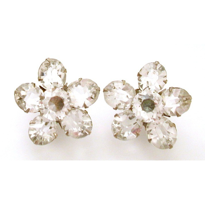 Faceted Clear Crystal Open Back Clip Earrings