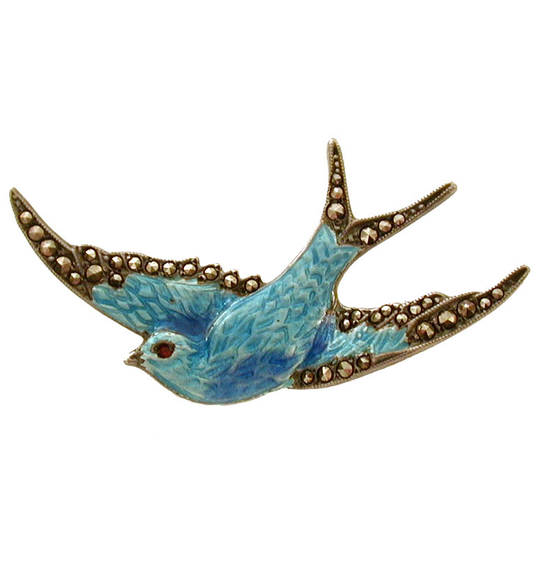 RESERVED Superb Sterling Blue Enamel Swallow Pin Marcasites Removable Safety Chain