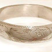 Sterling Hinged Bangle Bracelet All Over Engraving Swoops & Swirls