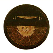 RESERVED Antique Circa 1840 Papier Mache Snuff Box Painting of Symbolic Imagery Beaming Sun