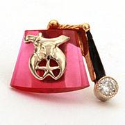 Masonic Shriner 14k Diamond Enamel Ruby Fez Shape Tie Tack, Fraternal Pin