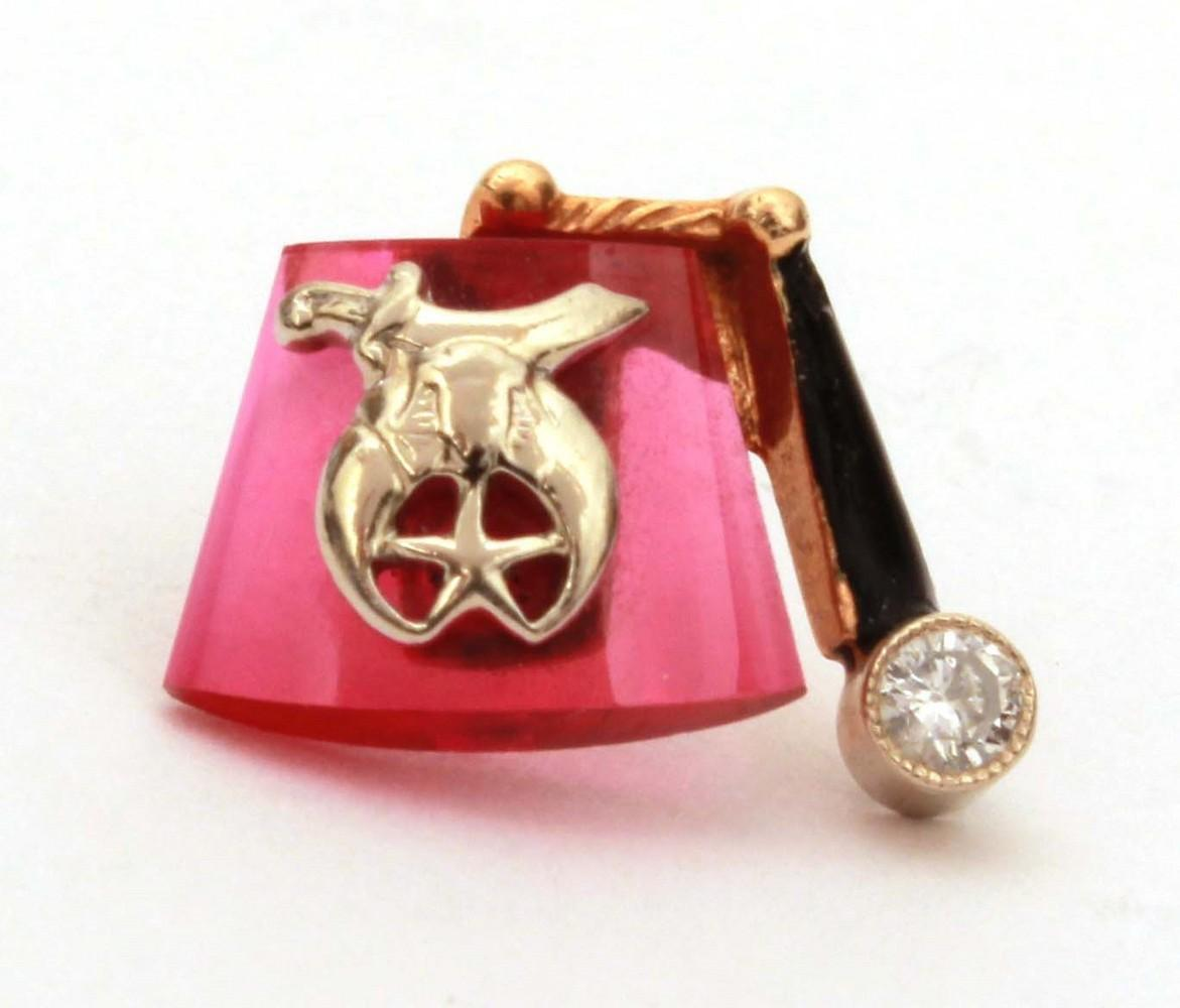 Masonic Shriner 14k Diamond Enamel Ruby Fez Shape Tie Tack, Fraternal Pin