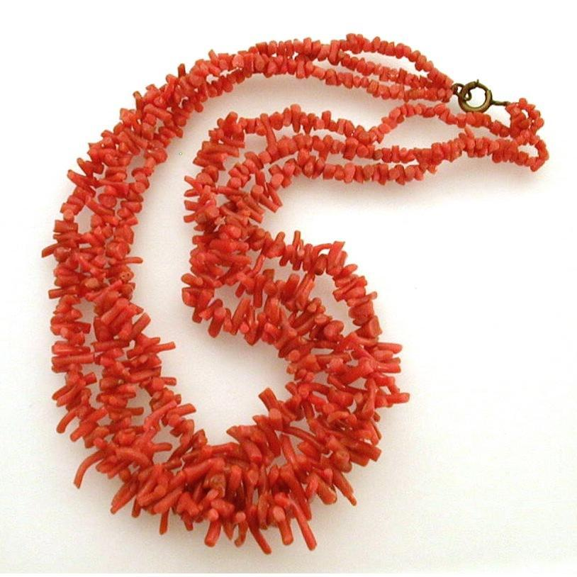 Genuine Branch Coral Deep Orange Red Color 3 Strand Necklace