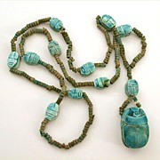 Egyptian Revival Faience Scarab Necklace - Clay Beads Egypt