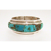 Handsome Native American Sterling Ring Inlaid Band of Turquoise
