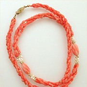 """Genuine Coral & Fresh Water Pearls Twist Necklace 23-1/2"""" Long"""