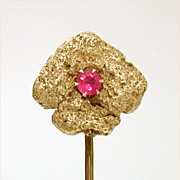 Antique 18K Gold Mined Nugget Stickpin with Ruby