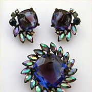 Claudette Japanned Demi Parure Large Blue & Purple Glass Stone with AB Pear Shaped Accents