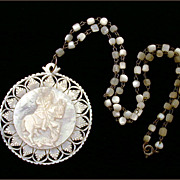 Saint George Slaying Dragon Large Carved Mother of Pearl Necklace
