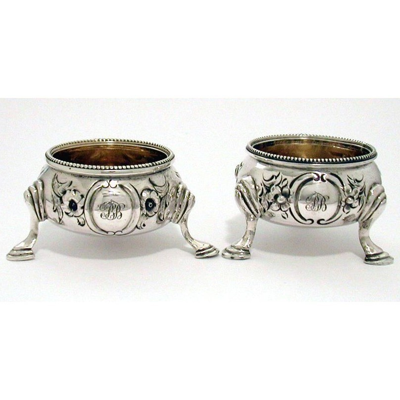 Pair Victorian Sterling Open Salt Cellars with Heavy Repousse Work by Robert Harper 1862 and Daniel & Charles Houle 1864