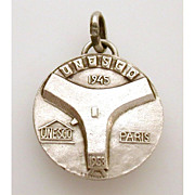 1945-1958 United Nations UNESCO Building in Paris, France Sterling Medal Charm 13th Anniversary - Culture, Science, Education