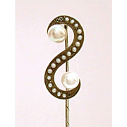 Antique Sterling Pearl & Seed Pearls Stickpin - S Shape