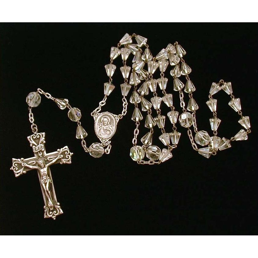 Rosary with Ornate Sterling Crucifix Swarovski Crystal Cone Beads