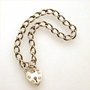 English Sterling Bracelet & Heart Lock Clasp Henry Griffith & Sons London 1979