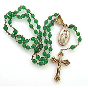 Old Rosary Brass Crucifix Miraculous Medal Centerpiece Green Crystal Beads