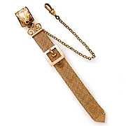 Antique Watch Fob Woven Chain Mesh with Buckle by SM&S, Pocket Watch Chain with Waist Band Hook or Vest Clip