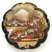 Large Satsuma Brooch Mount Fuji & Iris Blossoms Cobalt Blue Scallop Border, Signed Shimazu Mon Crest