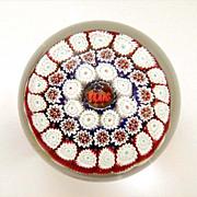 Toso Millefiori Paperweight TEXAS Murano Label Red White Blue