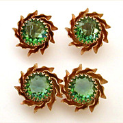 Pin & Earrings Headlight Green Glass Stones Openback Gold Tone