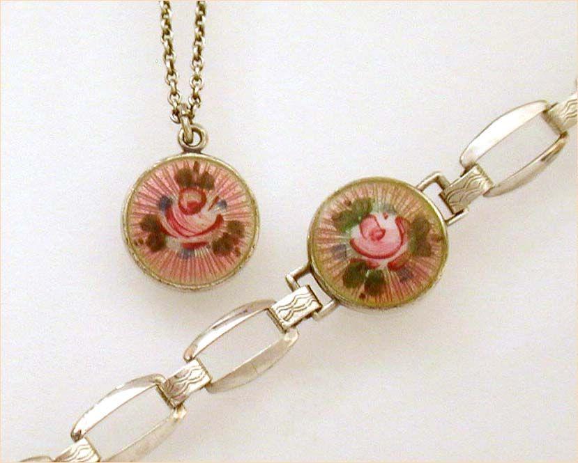 Lavender Pink Guilloche Enamel Sterling Child's Bracelet & Necklace Germany