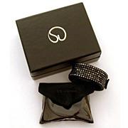 Designer St. John Black Rhinestone Hinged Bangle Bracelet Boxed