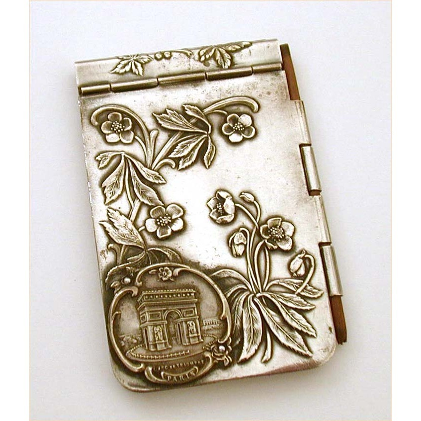1900 Art Nouveau Souvenir of Paris Silver Plate Notebook 4""