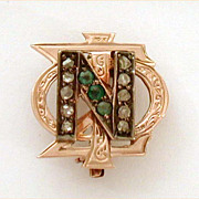 1918 Mine Cut Diamonds Emeralds 10k Gold Phi Sigma Nu Fraternity Sorority Pin
