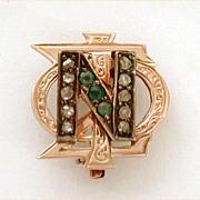 1918 Mine Cut Diamonds Emeralds 10k Gold Phi Sigma Nu Fraternity Sorority Pin