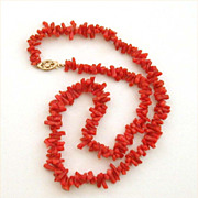 Vintage Genuine Branch Coral Necklace with 14k Gold Filigree Clasp