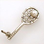 Vintage Danecraft Sterling Tennis Racket Charm Cultured Pearl