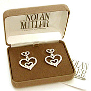 Nolan Miller Sparkling Heart Earrings with Box & Paperwork