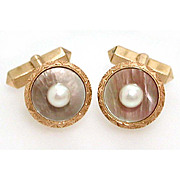 14k Gold Mikimoto Pearls Iridescent Gray Mother of Pearl Cufflinks