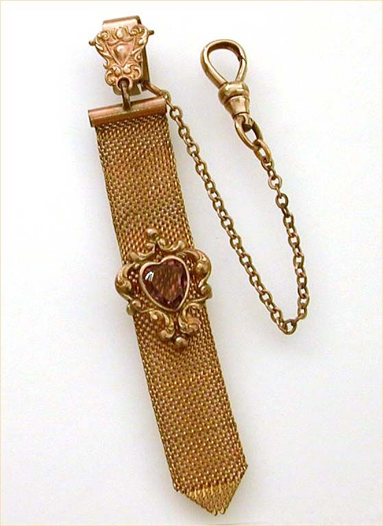 Antique Watch Fob Woven Chain Mesh Amethyst Glass Heart