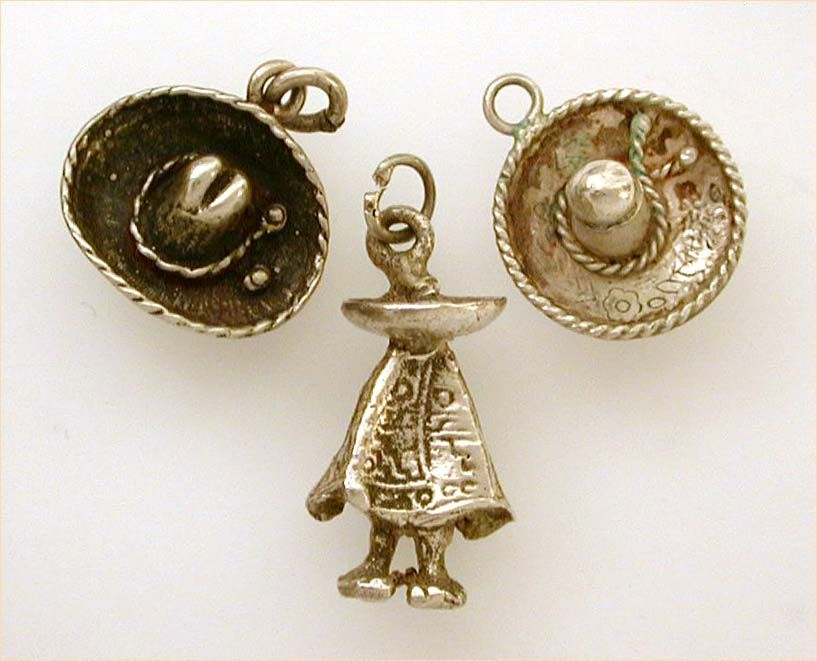 Set of 3 Mexican Sterling Charms Sombrero Hats & Man in Poncho