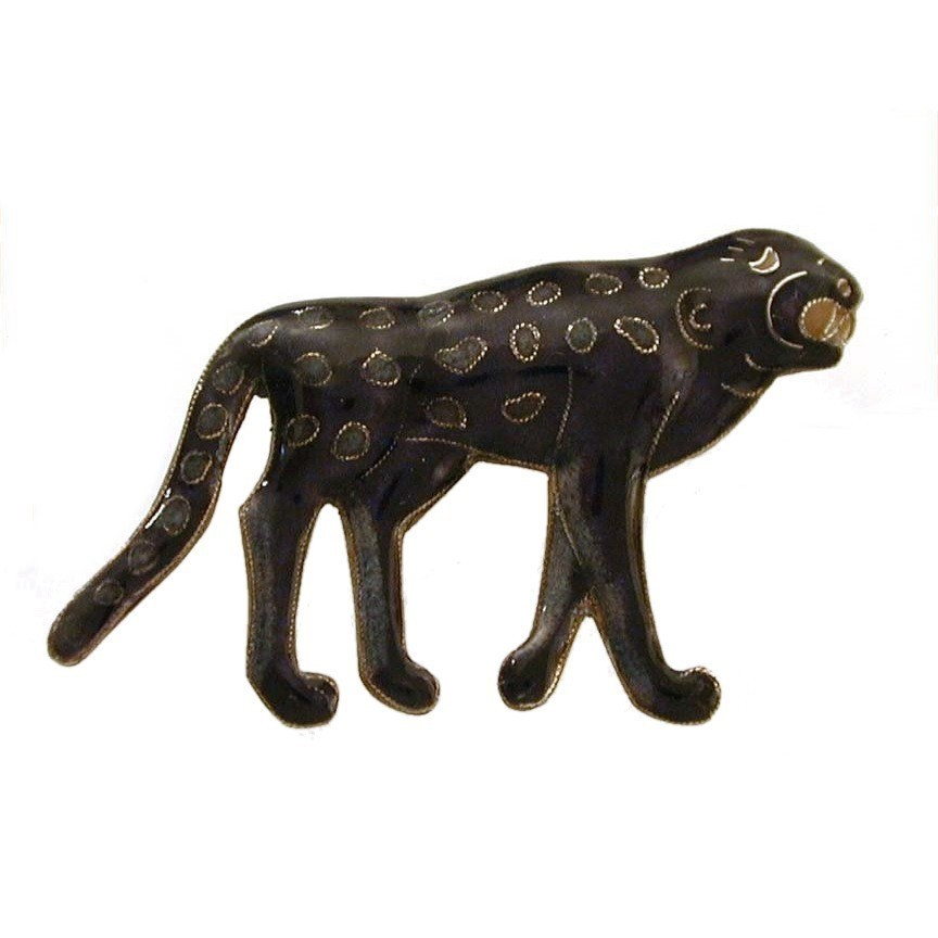 Spotted Black Leopard Chinese Enamel Gilded Sterling Pin Pendant