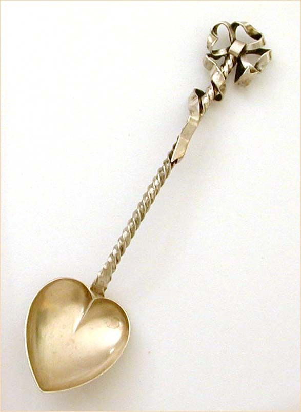 1891 Sterling Spoon Gilded Heart Bowl Twist Handle Bow Wrapped Jeannette