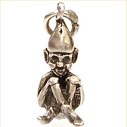 1940s Sterling Cross Leg Brownie Elf Leprechaun Charm