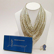 Whiting & Davis Silver Tone Mesh Bib Necklace with Box & Tag