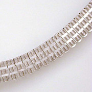 Sterling Omega Necklace Collar with Engraved Plaques Italy