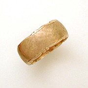 14k Band Ring Textured Decorative Borders Size 10, Vintage Wedding Ring