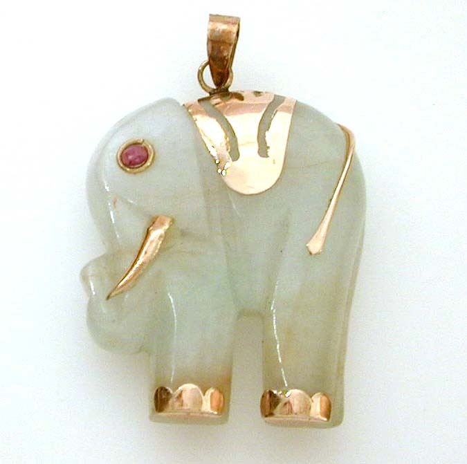 Carved jade elephant pendant with 14k gold ruby eye details sold carved jade elephant pendant with 14k gold ruby eye details sold ruby lane aloadofball Gallery