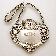 English Sterling Bacchus Head & Grapes Bottle Ticket GIN