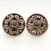980 Silver Mexican Pre-Eagle Earrings Turquoise Centers