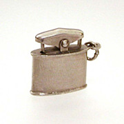 Miniature Cigarette Lighter Sterling Charm Movable Striker, Vintage Bracelet Charm