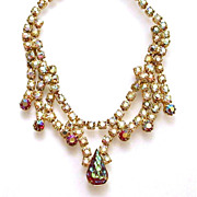 Red Art Glass & Aurora Borealis AB Rhinestone Layered Necklace