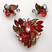 Mix of Pink Red Purple Glass Leaves Rhinestones Pin Earrings